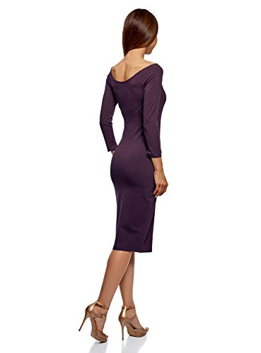 Action oodji Ultra Damen Enges Kleid mit U-Boot-Ausschnitt, Violett ... ffe507c20e