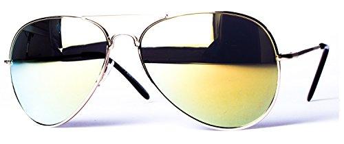 Lunettes de soleil modèle aviateur avec charnière à ressort 4027 - couleurs différentes or / or miroir