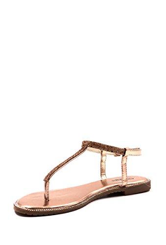 CHIC NANA . Chaussure Femme Mode Sandale plate, avec chaine incrustée de strass. Or Rose