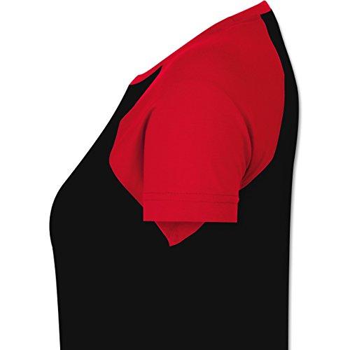 Shirtracer Statement Shirts - Free Spirit - Zweifarbiges Baseballshirt/Raglan T-Shirt für Damen Schwarz/Rot