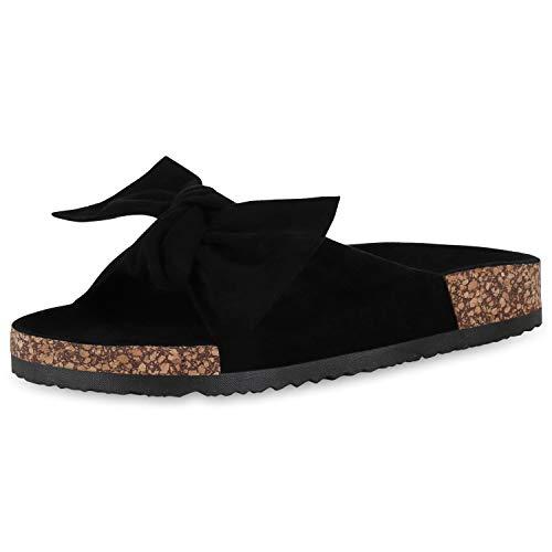 SCARPE VITA Damen Sandalen Pantoletten Wildleder-Optik Schleife Schlappen Sommer Schuhe Korkoptik Hausschuhe Flats 176973 Schwarz Schleifen 36