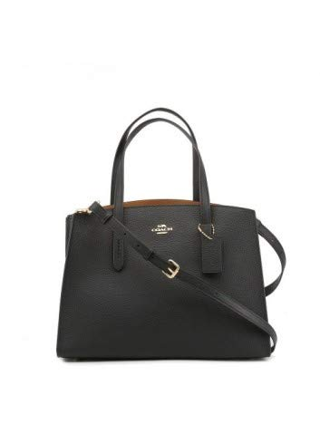 Coach Charlie Carryall Black Pebbled Leather Tote Bag, Black Leather, Einheitsgröße