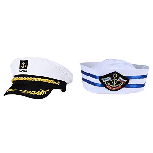 Kind Kostüm Admiral Navy - TENDYCOCO 2 Stück Erwachsenen Yacht Boot Kapitän Cap Schiff Sailor Hut Kostüm Hut Navy Marine Admiral