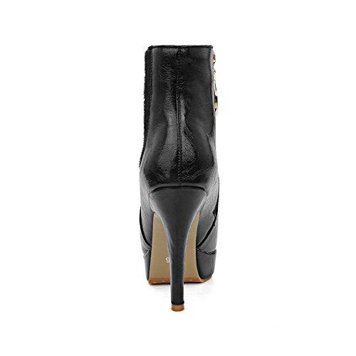 AllhqFashion Damen Weiches Material Niedrig-Spitze Reißverschluss Stiletto Stiefel Schwarz