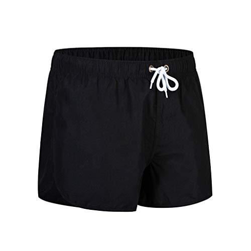 MOTOCO Herren Shorts Badehose schnell trocken Strand Surfen Laufen Schwimmen elastische Taille gespleißt Watershort Hose(L,Schwarz-2) -