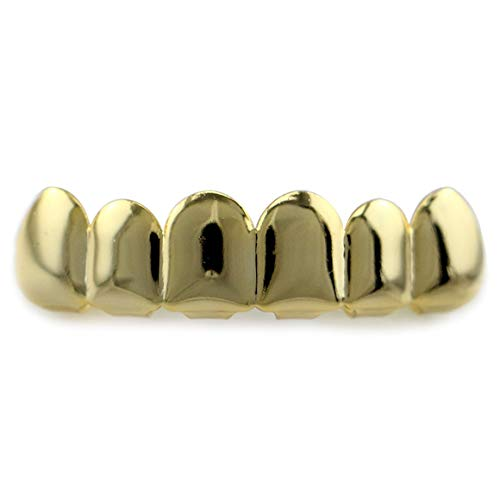 Funnyrunstore 6 Beschichtung Glänzende Grillz-Zähne Galvanisieren Kupfer Hip Hop-Zähne Ober- & Unterkieferzähne Zähne Grill für Weihnachten Halloween (Gold; Oben)