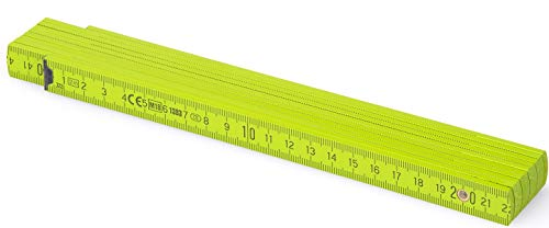MetrieTM BL52 Holz Zollstock/Zollstöcke |2m langer Gliedermaßstab, Maßstab|Meterstab mit Duplex-Teilung - Hellgrün