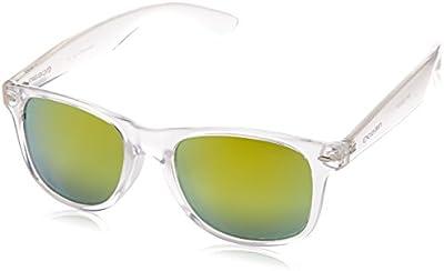Ocean Sunglasses Beach wayfarer - gafas de sol polarizadas - Montura : Blanco Transparente - Lentes : Naranja Espejo (18202.97)