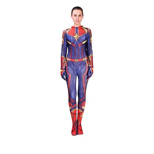 Movie Ms. Captain Marvel Carol Danvers Plugsuit für Erwachsene Kinder Lycra Spandex Cosplay Kostüm Superhelden Zentai Strumpfhose Jumpsuit Body Outfit für Halloween, Weihnachten, Party, Adults, XL