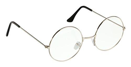 Trixes Brille Silber/Schwarze Unisex Rund Metall Retro-60er für Karneval