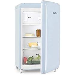 Klarstein PopArt Blue - réfrigérateur, pose libre, années 50, 108 l, congélateur 13 l, compart. légumes, 2 x clayettes, porte bouteilles, bac à oeufs, fermeture vers la droite, bleu