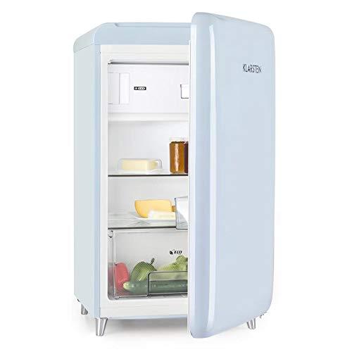 Klarstein Popart Blue - Kühlschrank, Standkühlschrank, Retro Look der 50er, 108 Liter Volumen, 13 Liter Gefrierfach, Blitzkühl-Funktion, Gemüsefach, 2 x Regal, Flaschenfach, blau