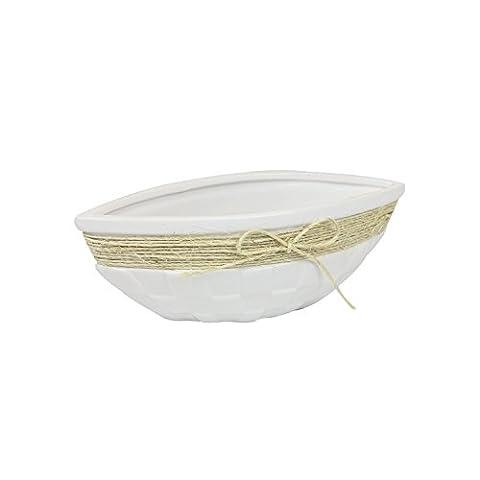 Lisbon home decor, ceramic canoe shape bowl 23 cm with