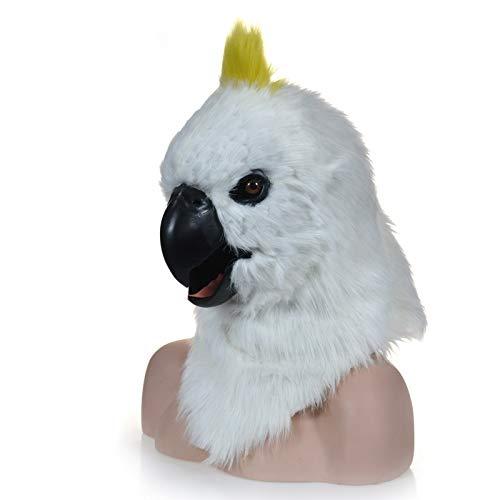 XIANCHUAN Beweglicher Mund Weiße Papageienmaske Tierweltmaske Tierkarneval Papageienmasken Cosplay Halloween-Maske Lustige atmungsaktive haarige Partyrequisiten Lustige gruselige Maske