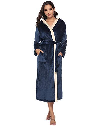 Aibrou accappatoio donna spugna lungo con cappuccio, accappatoio donna in pile con cintura, vestaglia donna invernale calde, camicia da notte pigiama donna inverno per spa hotel casa
