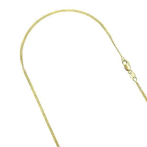 Luxurman 10K Solid Yellow Gold 1.5mm Wide Diamond Cut Curb