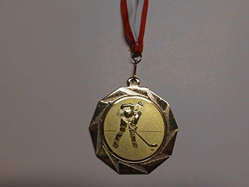 Fanshop Lünen 100 Stück Medaillen - Große Stahl 70mm - mit Alu Emblem 50mm (Gold) - Eishockey - Kinder - Herren - mit Medaillen-Band (weiß/rot) - (e103) -
