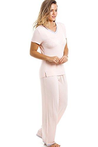 Ensemble de pyjama - haut à manches courtes/pantalon long - couleur pêche Orange