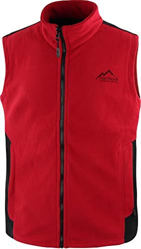 normani Herren Fleeceweste mit Reißverschlusstaschen und Stehkragen - warm, leicht 280 g/m² - ZIP-T3K System Farbe Rot/Schwarz Größe XL