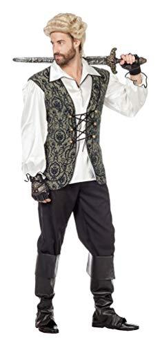 Karneval-Klamotten Piraten-Kostüm Herren Kostüm Pirat Kapitän Admiral Komplett-Kostüm schwarz-weiß-grau Herrenkostüm Größe 58 (Baby Jack Sparrow Kostüm)