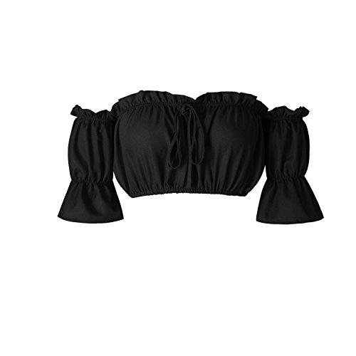 Yidarton Frauen Sommer Crop Tops Off Schulter Casual Tank Top Frill Bralet Blusen Shirt Schwarz