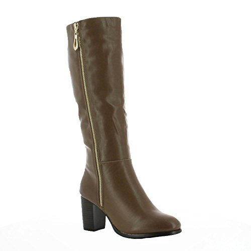 Ideal-Shoes Stiefel CLASSIC verziert mit einem Reißverschluss métalisée Lavinia Taupe 3G6WqY2uhe