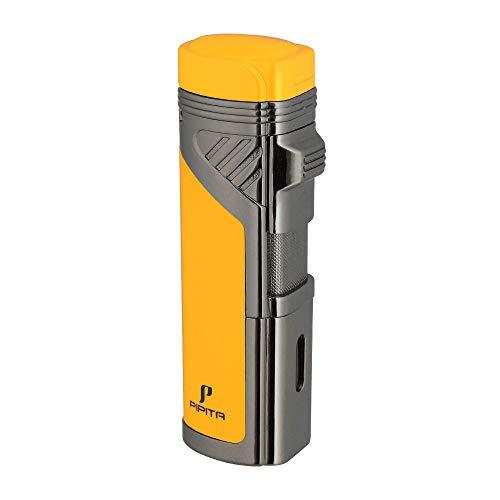 PIPITA Winddicht Zigarren Feuerzeuge Sturmfeuerzeug 4 Taschenlampe Jet Rot Flammen Gas Nachfüllbar Metall Feuerzeuges mit Bohrer (Verkauft ohne Gas)