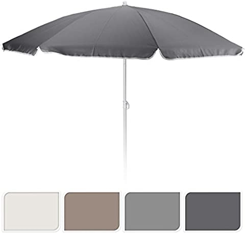 Sonnenschirm Ø 160 cm grau weiß beige uni Schirm Gartenschirm 160cm Strandschirm (Beige)