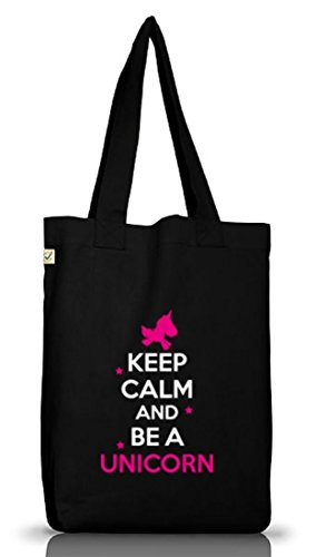 Keep Calm And Be A Unicorn, Einhorn Jutebeutel Stoff Tasche Earth Positive (ONE SIZE), Größe: onesize,Black (Stoff-tasche Tags)