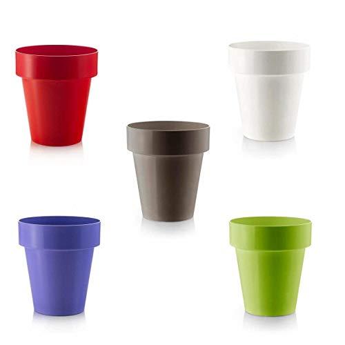 Teraplast 5 Vasi da Fiori Colorati Diametro cm 16 da Interno. Rosso, Cedro, Bruno, Bianco, Lilla