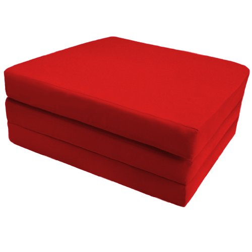 Comfortable 100% Cotton Single Fold Out Cube Bed Chair Stool Pouffe Futon in Red. Soft, Comfortable & Lightweight with a Removeable Cover. Available in 12 Colours.