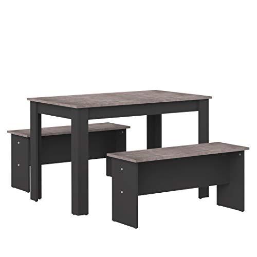 Marca Amazon -AmazonBasics - Juego de mesa de comedor con 2 bancos, 110 x 70 x 73cm (largo x ancho x alto), roble y blanco