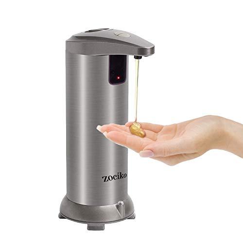 zociko Dispensador de Jabón Automático, Dispensador de líquidos Dispensador automático de jabón de Acero Inoxidable Touchless con Base Impermeable para Cocina y baño Office Sanitizer Shampoo Loción
