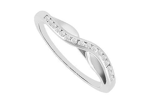 Channel set Diamond Curve Wedding Band 14K White Gold 0.25 CT Diamonds