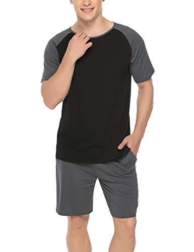 Hawiton Herren Schlafanzug Kurz Sommer Pyjama Nachtwäsche Set Kurzarm Shorty Baumwolle mit Kontrastfarbe Dunkelgrau XL -