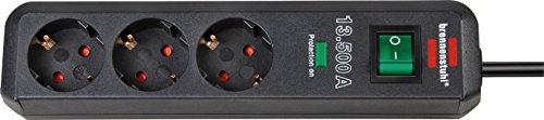 Brennenstuhl Eco-Line 3-fach Steckdosenleiste (mit Überspannungsschutz, Steckerleiste, Kindersicherung, Schalter und 1,5 m Kabel) anthrazit