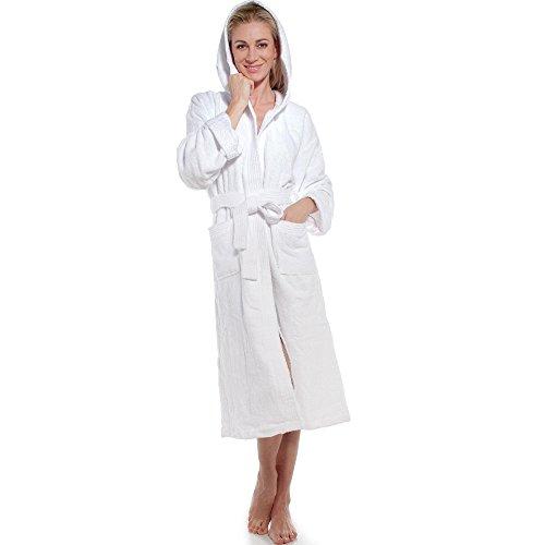 aqua-textil Frottee Bademantel mit Kapuze aus 100% Baumwolle, für Damen u. Herren, Morgenmantel Föhr 0010123 weiß M (Frauen Frottee-bademantel)