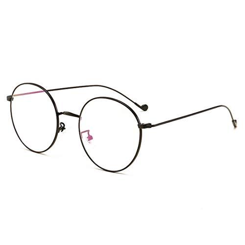 Shiduoli Männer und Frauen Brillengestell Retro runde Brillen Nicht verschreibungspflichtige Brillen für Frauen Männer (Color : Black)
