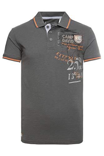 Camp David Herren Poloshirt aus Slub Jersey mit Artworks -