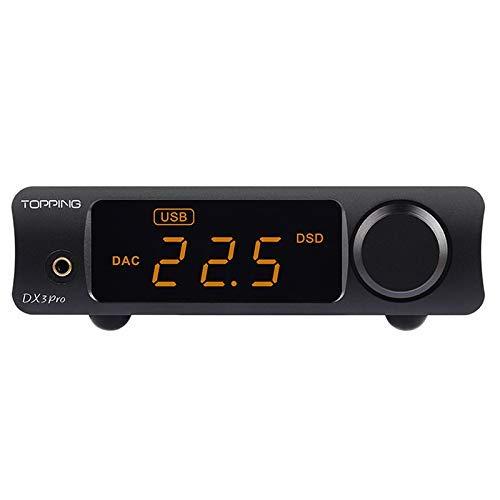 Topping DX3 Pro Kopfhörer-Verstärker DAC DSD512 PCM32bit / 768kHz XMOS XU208 APTX USB-Bluetooth-Decoder (Schwarz)