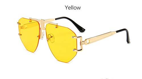 Cranky Orange Vintage Spiegel Sonnenbrille Damen Pilotenbrille Übergroße Randlose Transparente Markendesigner Herren Sonnenbrille modisch Weiblich, Gelb