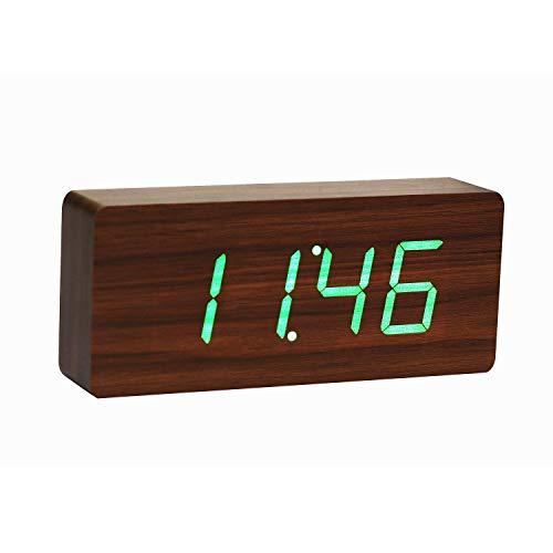 Gingko GK06G8 Holzblock-Digitaluhr \'Click Clock\' Walnuss mit grüner LED-Anzeige