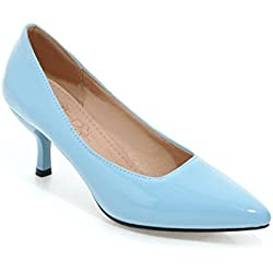 Frauen Niedrige Ferse Spitze Zehe Süßigkeit Farbe der Pumps Schuhe (41, blau)