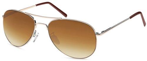 Feinzwirn Pilotenbrille Sonnenbrille für das schmale Gesicht inkl Brillenbeutel (braun)