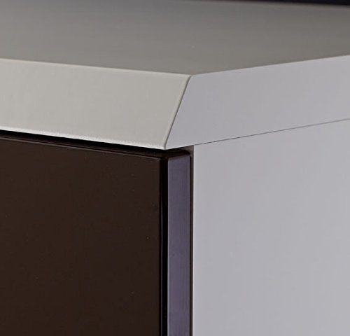 Design Highboard, 2 Vitrinentüren, 2 Holztüren, Korpus Weiß Mattlack – Front Terrabraun Hochglanz mit Zubehör - 2