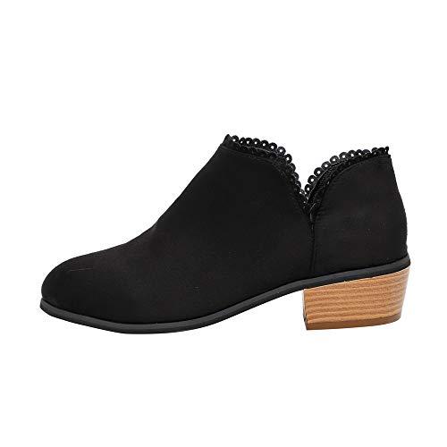 VJGOAL Damen Stiefel, Damen Mode Roman Round Toe Slip auf Martin Stiefel Casual Classic Ankle Herbstliche Wedges Schuhe (Schwarz, 34 EU)