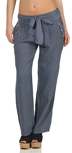 Malito Damen Hose aus Leinen | Stoffhose in Unifarben | feine Freizeithose mit Gürtel | Chino 8174 (Jeansblau, S) Damen Chino Hose