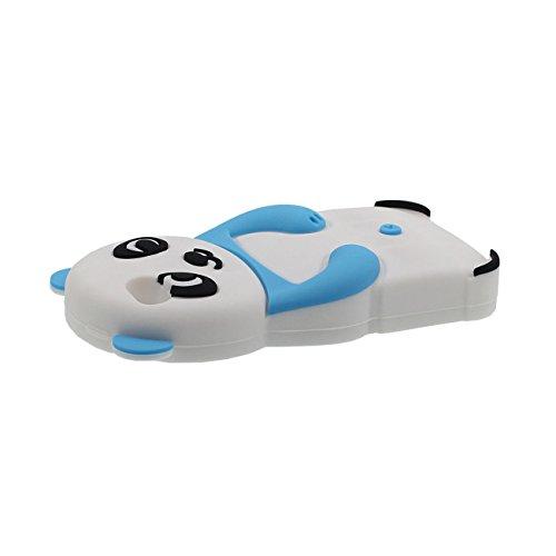 Für iPhone SE 3D Schön Tier Panda Gestalten Mode Weich Silikon Hülle Case Schutzhülle Für Apple iPhone 5 5S SE 5G mit 1 Silikon Halter blau