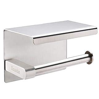 Kazeila Toilettenpapierhalter SUS304 Edelstahl rostsicheres Badezimmer Toilettenpapier Rollenhalter mit mobiler Telefon Aufbewahrungsfläche Wand Montage, Selbstklebend (Gebürstetes Finish)