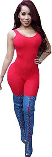 Frauen-reizvoller Kreis-Ansatz-Sleeveless Elastizität-Backless Clubwear Verband-Overall Rot